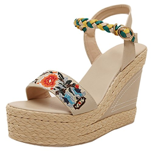 Women New Bohemia Flower Pattern Summer Open Toe Retro Sandals Wedge Heel Shoes apricot