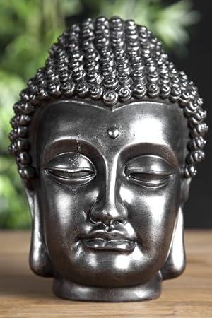 Buddha Kopf Deko.Design Buddha Kopf Skulptur Schwarz Silber Deko Accessoires