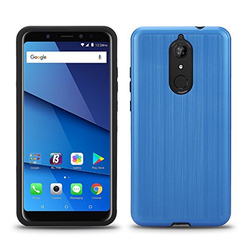 BLU Vivo XL3 Plus case, (V0210WW) 6 inch case, [ New Frontier Wireless], Tough Hybrid + Dual Layer Shockproof Drop Protection Metallic Brushed Case Cover for BLU Vivo XL3 Plus (VGC Blue)