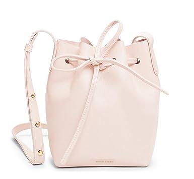 4a968c6487f7 Amazon.com: Bucket Bag Mansur Women Split Leather MINI Shoulder Bag ...