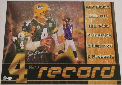 Brett Favre Green Bay Packers Signed Poster 4 The Record Favre & Jsa Coa