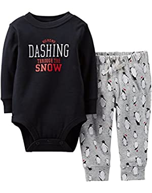 Carter's 2 Piece Christmas Set (Baby) - Black-3 Months