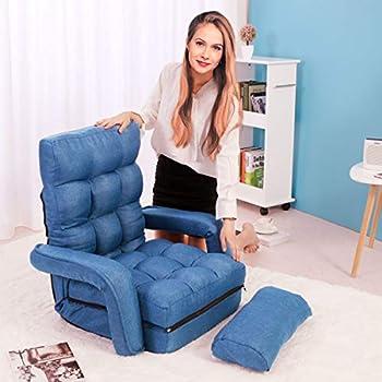 Amazon Com Jaxpety Blue Fabric Folding Chaise Lounge Sofa