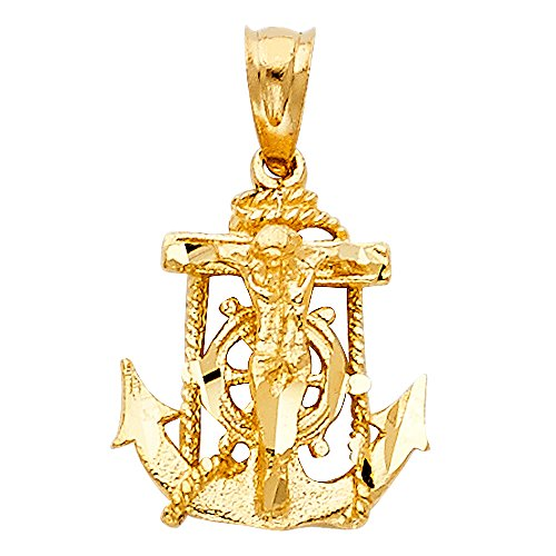 (Solid 14k Yellow Gold Jesus Cross Mariner Charm Anchor Crucifix Pendant 6 Sizes (TGDJ-1228))