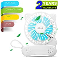 Portable Fan Battery Operated Mini handheld Fan Small Personal Foldable fans Quiet Rechargeable Fan Usb Charger Desk Fan Cute Cat Design for Women Kids Outdoor Travel Camping Office Home (white)
