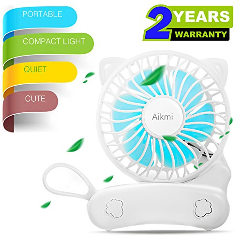UPC 608119394258, Portable Fan Battery Operated Mini handheld Fan Small Personal Foldable fans Quiet Rechargeable Fan Usb Charger Desk Fan Cute Cat Design for Women Kids Outdoor Travel Camping Office Home Bedroom