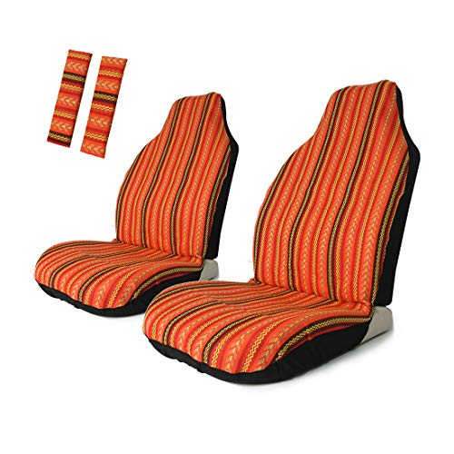 Copap 4pc Universal Stripe Colorful Front Seat Cover Baja Bucket with Seat-Belt Pad Protect for Car, SUV & Truck (2 seat Covers+2 seat Belt Covers) ()