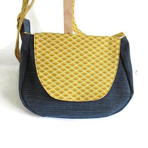 d9f42612b757 Sac à bandoulière jaune moutarde et bleu marine