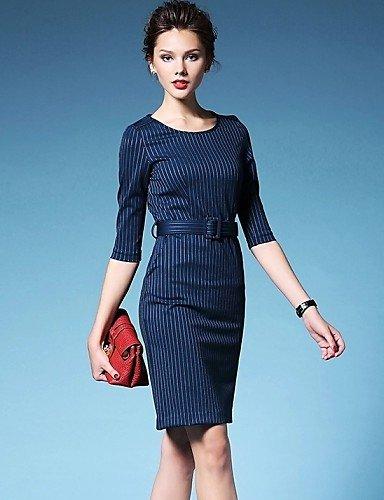 PU&PU Robe Aux femmes Trapèze Vintage / Décontracté , Rayé Col Arrondi Mini Coton , black-2xl , black-2xl