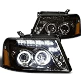 Ford F150 11th Gen Dual Halo Projector LED Headlight Assembly (Smoke Lens Amber Reflector)