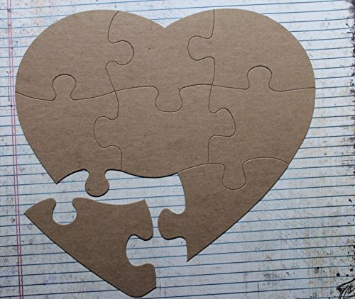 Extra Large Heart Shaped Jigsaw Puzzle, 8 Piece Bare/Unfinished chipboard diecuts ()