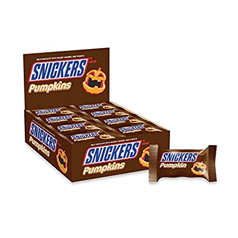 SNICKERS Halloween Pumpkin Singles Chocolate Candy 1.1-Ounce (Pack of 24) - Fall Assorted Chocolates
