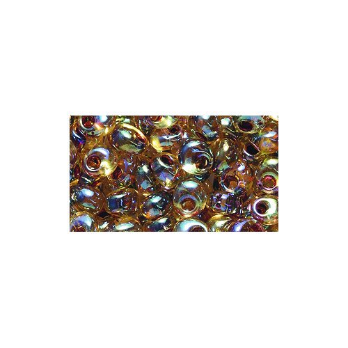 Shipwreck Beads Miyuki Seed Bead, Drop Magatama Garnet Lined Topaz Aurora Borealis, 4mm
