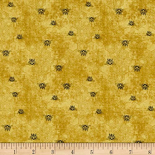 Fabri-Quilt Paintbrush Studio Bee Kind Bees Fabric, Gold, Fabric By The Yard