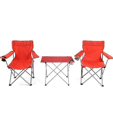 GXLYMX Mesa y Silla de Camping Plegable 2 sillas Plegables Mesa ...