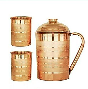 Generic Hast Kala Kendra Copper Jug with 2 Glass (2000Ml of Jug, 400ML of Each Glass)