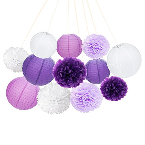 ARDUX 12 Pcs/lot Chinese Paper Lanterns + Paper Flowers Decor for Fiesta Anniversary Birthday Wedding Ceiling Party Supplies Favors Hanging Decoration (Purple + Light Purple + White)