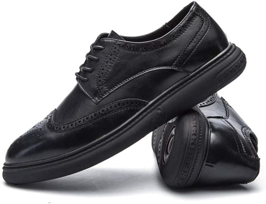 QINRUIKUANGSHAN Brogue Carving Shoes for Men Synthetic Leather Bussiness Casual Handiness Soft Breathable Simple and Practical Product Color : Black , Size : 9.5 M US