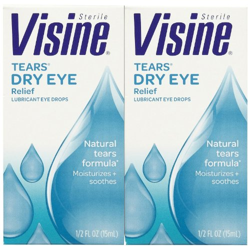 Visine Tears Lubricant Eye Drops-0.5 oz, 2 pack
