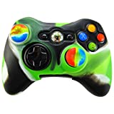 Pandaren Soft Silicone Skin for Xbox 360 Controller Set(Black light green Skin X 1 + Thumb Grip X 2)
