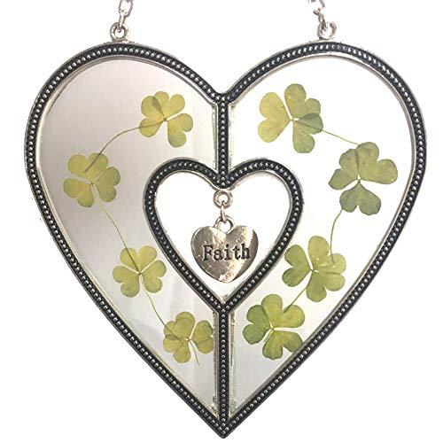 (Faith Shamrock Heart Suncatchers for Windows Heart with Pressed Flower Heart - Glass Heart Suncatchers Gifts Gift for Birthdays St Patrick's Day Decoration Irish Gift in-Law Gift, Irish)