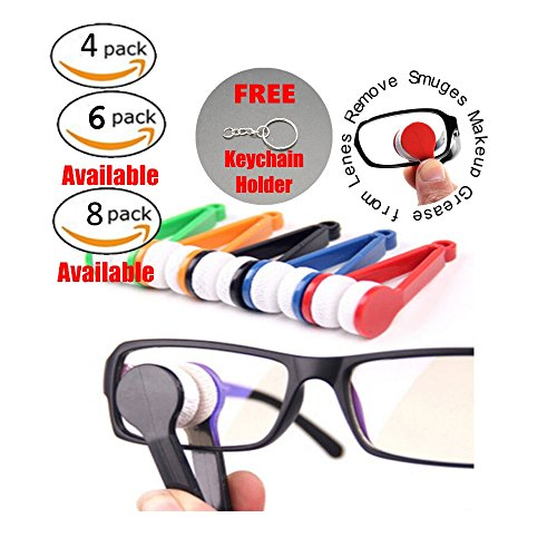 4pcs Mini Sunglasses Eyeglass Microfiber Glass Cleaner Soft Brush Cleaning Tool Mini Lens Wipes | Free Key Chain |Microfiber Glasses Eyeglasses Cleaner Cleaning Clip (Random Color)