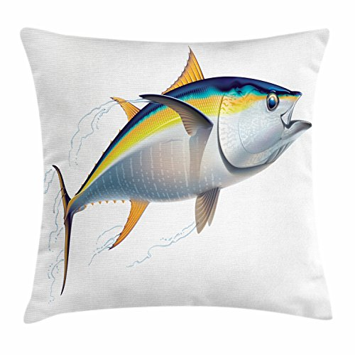 Fish Shadow Box (Ambesonne Fish Throw Pillow Cushion Cover, Yellowfin Tuna Realistically Illustrated with Shadows and Water Details on Fins, Decorative Square Accent Pillow Case, 36 X 36 Inches, Earth Yellow Blue)