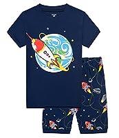 Aiqie Space Rocket Boys Short Pajamas Set 2 Piece Kids 100% Cotton Clothes