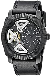 Fossil Men's ME1121 Machine Mechanical Twist Stainless Steel Watch With Black Leather Band