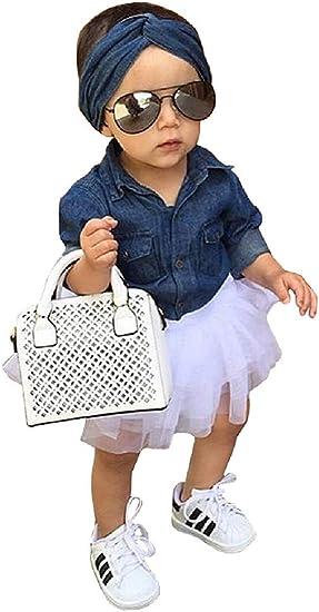 Complete - Atuendo - Camisa - Manga Larga - Falda - Falda - tutú - Tul - Diadema - Cabello - Azul - Jeans - Blanco - niña - niña - Idea de Regalo: Amazon.es: Ropa y accesorios
