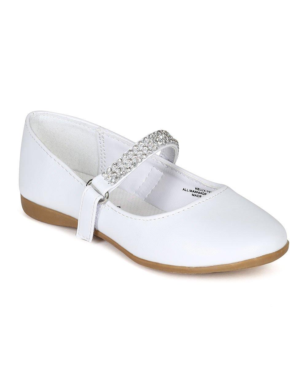 Little Angel CA05 Leatherette Round Toe Rhinestone Mary Jane Ballerina Flat (Toddler/Little Girl) - White Leatherette (Size: Toddler 5)