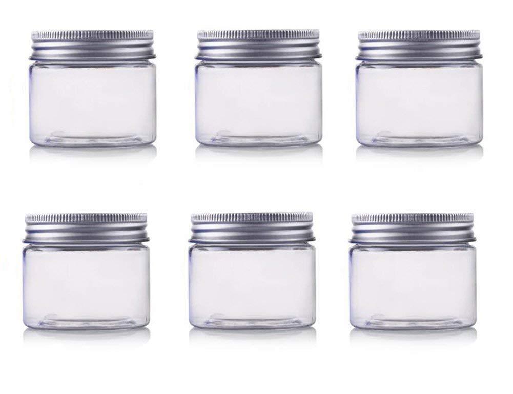 EGLEMTEK 25 pz Barattoli in Plastica Trasparente da 50 ml per Conserve Marmellate Spezie Caramelle Te O Regali con Coperchio A Vite in Alluminio