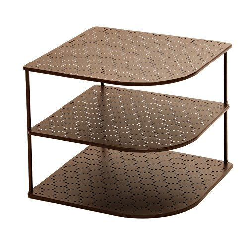 Seville Classics 3 Tier Corner Shelf Counter U0026 Cabinet Organizer, Bronze