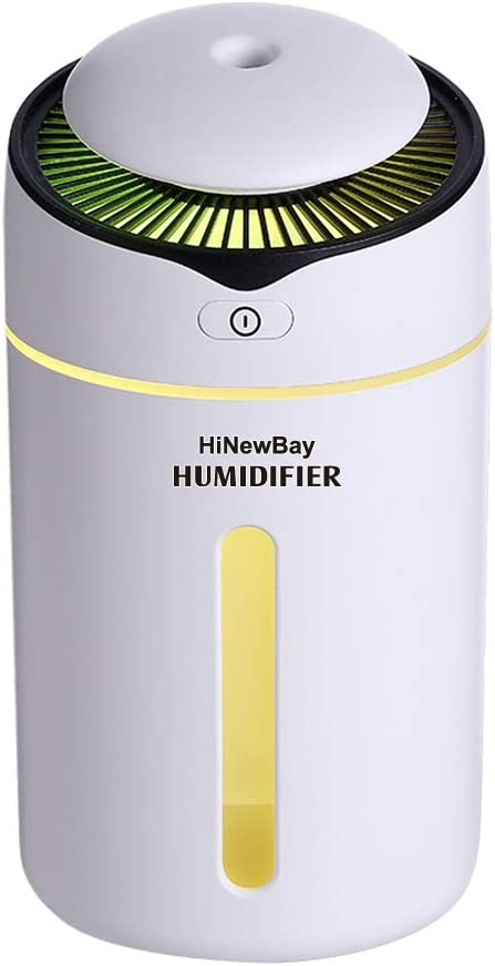 HiNewBay Car Humidifier Cool Mist Car Diffuser USB Ultrasonic Humidifier Portable Waterless Auto Shut-Off and 7 Color LED Lights Humidifier for Baby Bedroom Home Office