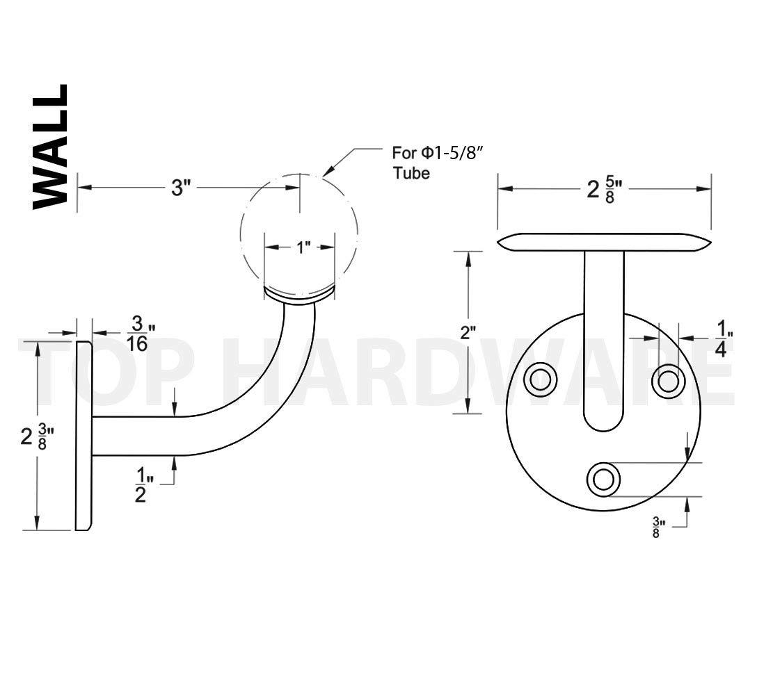 2-Pack Stainless Steel 316 Grade Wall Mount Handrail Bracket for 1-5//8 or 1-1//2 Railing
