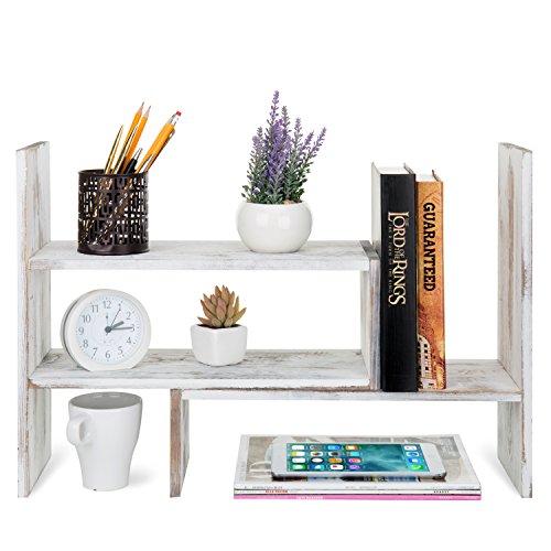 MyGift Whitewashed Wood Adjustable Desktop Office Organizer Display Shelf by MyGift