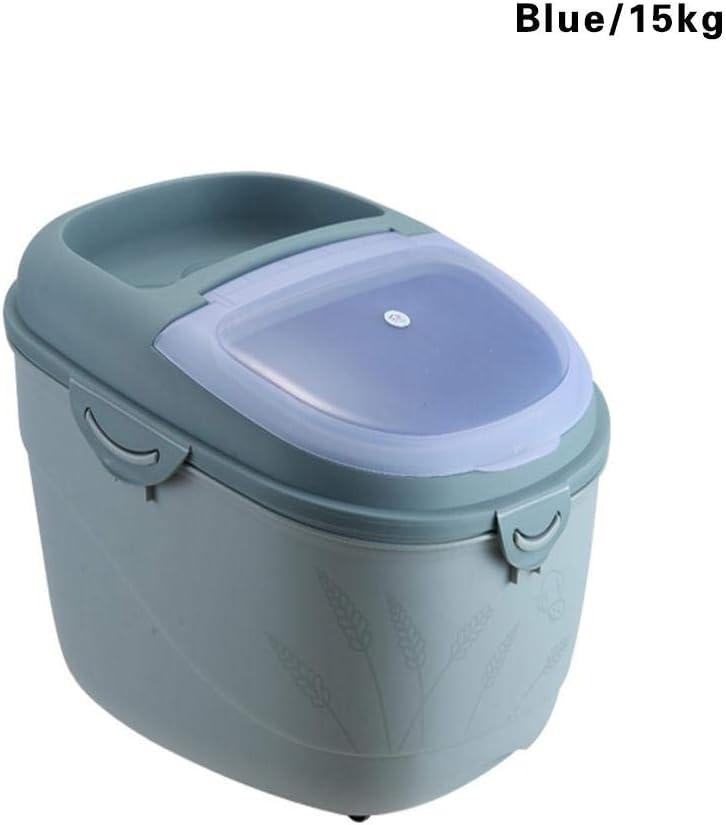 10kg 15kg Estuche de almacenamiento de pl/ástico Sellado Contenedor a prueba de humedad con gran capacidad Arroz de secado Organizador de alimentos Contenedor de almacenamiento de alimentos secos