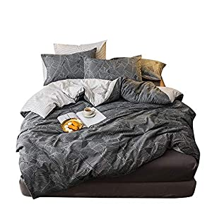 MKXI Duvet Cover Set Garden Style Bedding Set Queen White Leaves Pattern Stripes Reversible Cotton Bedroom Collection