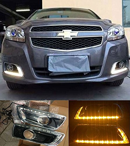2X LED Daytime Running Lights DRL Fog Lamp For Chevy Chevrolet Malibu 2013 2014 2015 With Amber Turn Signal Lamp ()