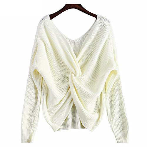 (LifeShe V Neck Women Sweaters and Pullovers Twisted Back Jumpers (One Size, White))