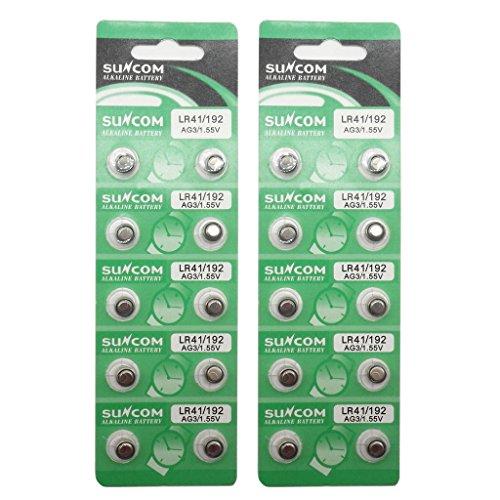 SUNCOM (20 pcs) AG3 Alkaline 1.5V Button Cell Battery Single Use LR41 192 SR736 V36A 384 SR41SW Watch Toys Remotes Cameras