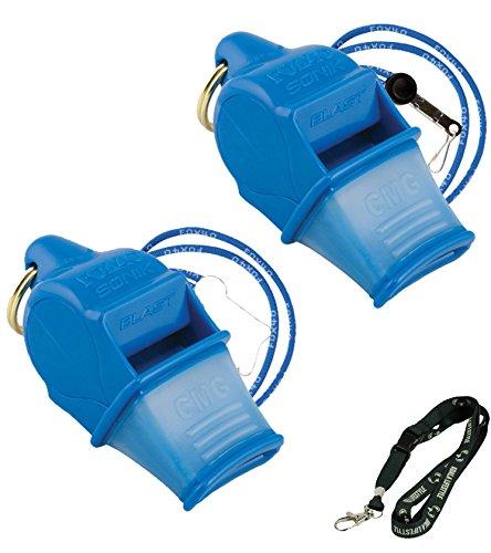 Fox 40 Sonik Blast CMG Loudest Pealess Outdoor, Emergency, Safety, Survival Whistle + Breakaway Lanyards   2pk Bundle + Koala Lanyard, Blue ()