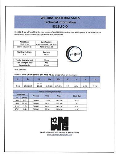Blue Demon 316FC-O X .035 X 1LB Spool stainless steel flux core gasless welding wire