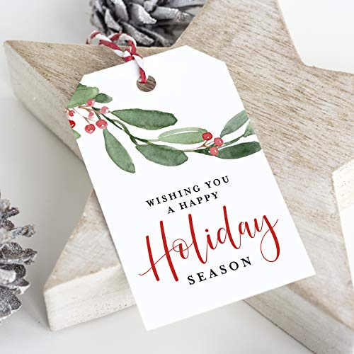 Bliss Collections Holiday Christmas Tags for Gifts, Holly Greenery Foliage Watercolor Tag Design – 50 Pack
