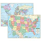 (Price/PK)Kappa Map Group / Universal Maps UNI15848 Us & World Primary Deskpad Maps 5Pk
