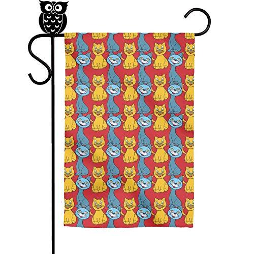 Quinnteens Cute Cartoon Cats Red Background Home Garden Flag Yard Flag Summer Yard Outdoor Decorative 12x18 inch -