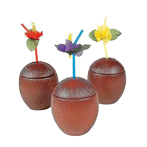 Kicko 3 Plastic Coconut Cups - 5 Inches - Holds 16 Ounces of Liquid - Hawaiian Summer Luau Party Coconut Sippy Cup - Beach Tropical Party Accessory (Coconut Glasses)