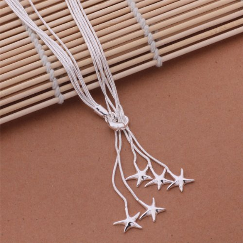 New 925 Silver Plated Fasion Jewelry Nice Starfish Necklace with Velvet Pouch Nice Silver Plated