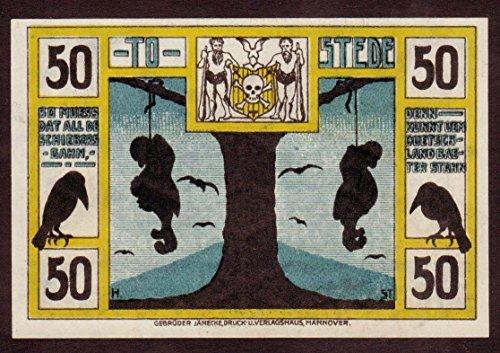 1921 DE RARE ORIGINAL 1921 ANTISEMITIC BANKNOTE w HANGED JEWISH GNOME Read History 50 PFENNIGS Unicrculated
