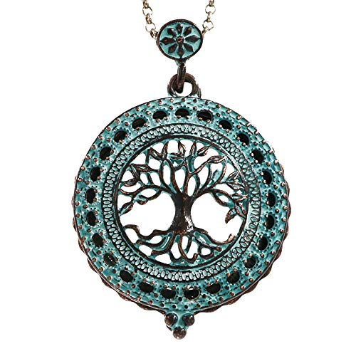 Raonhazae Antique Patina Tree of Life 5X Magnifying Glass Pendant Necklace Long Chain with Sliding Top